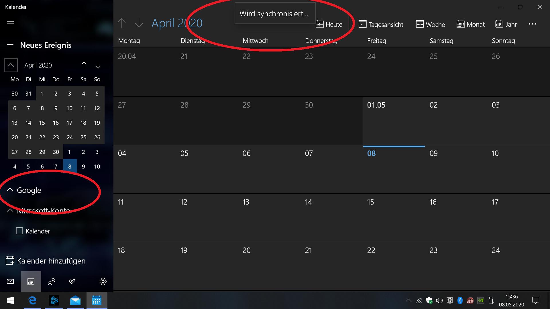 """""""Mail und Kalender"""" synchronisiert meine Google Termine & Kontakte nicht"""