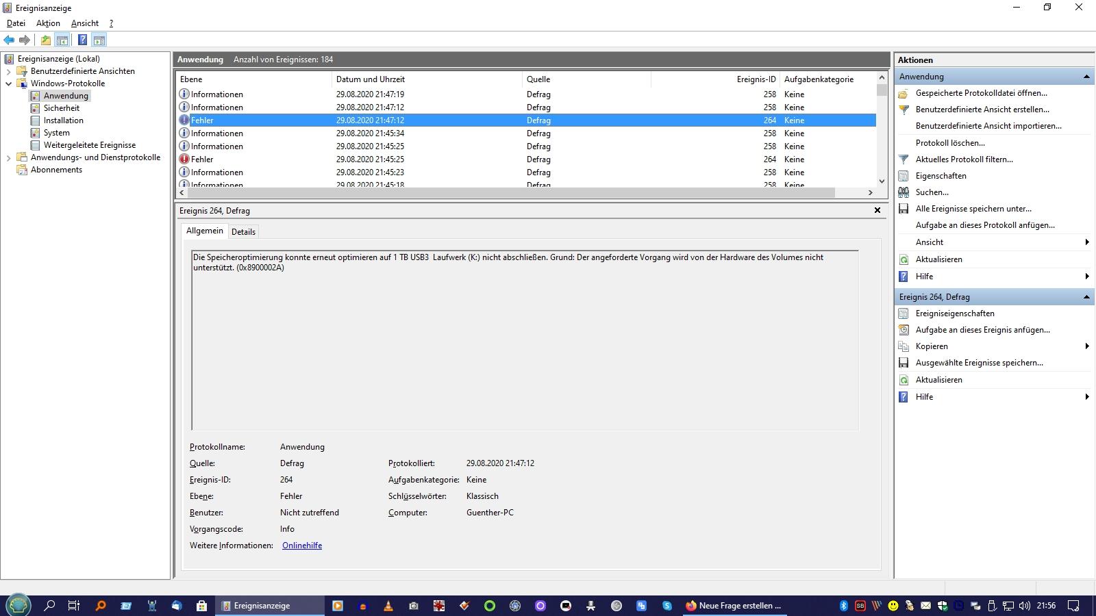 Windows Defrag funktioniert nach Update auf Vers. 2004 nicht mehr