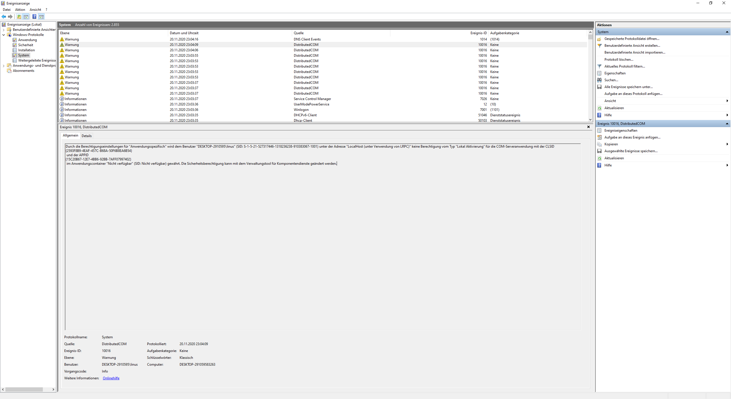 Fix für Event id 10016?