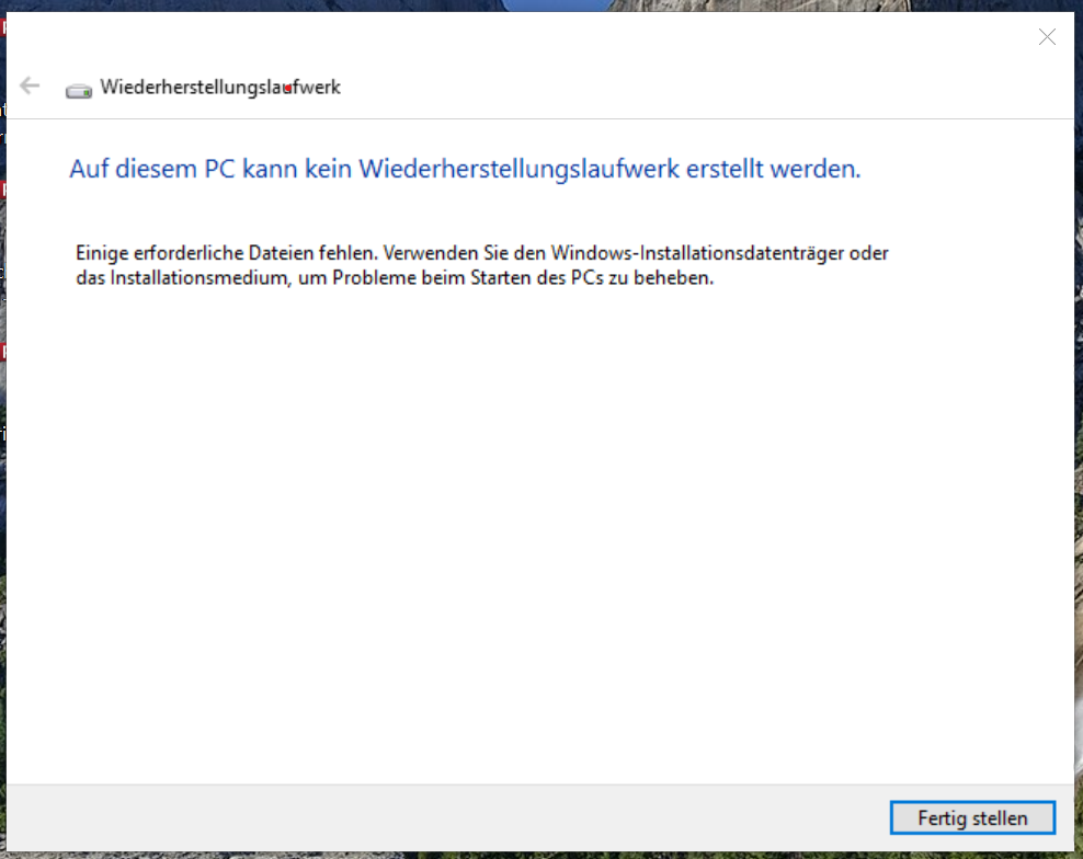Wiederherstellungslaufwerk kann nicht erstellt werden - Fehlermeldung nach Umstieg auf SSD