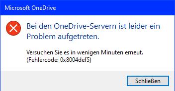 OneDrive Fehler beim Anmelden