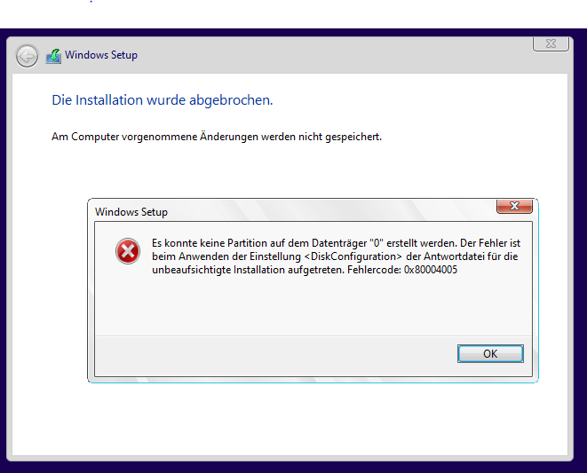 Antwortdatei Installationsfehler 0x8004005