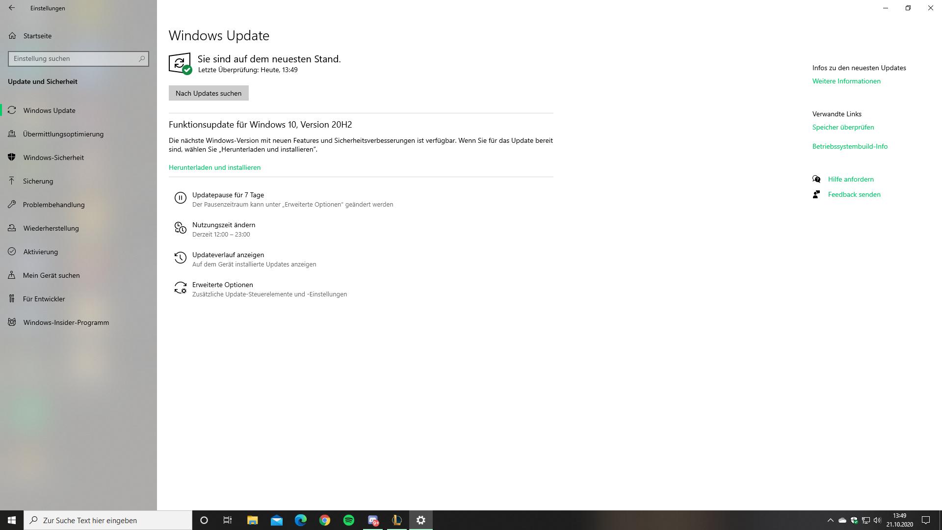 Neues 20H2 Update herunterladen oder warten