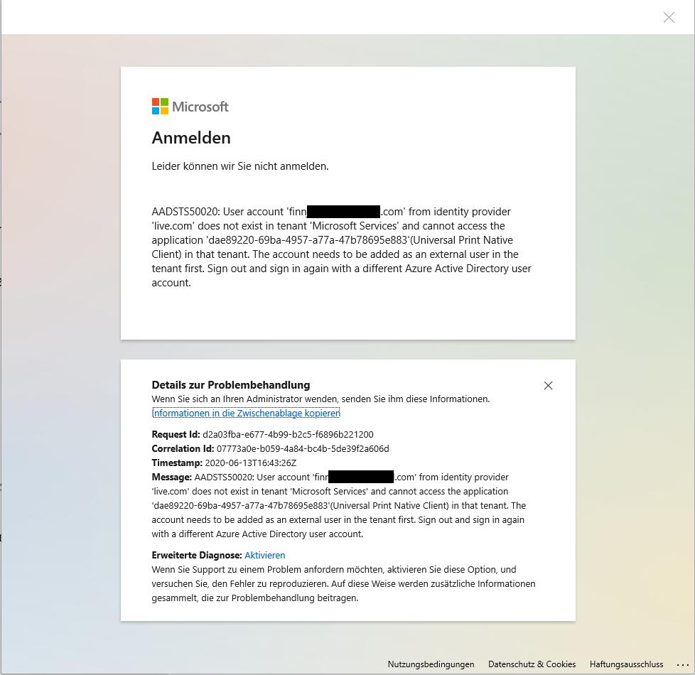 Kann nicht im Netzwerk nach Druckern suchen: Microsoft Login Pop-Up erscheint.