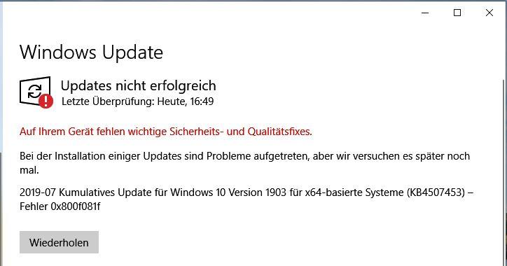 Windows Update Fehler seit Wochen !!!