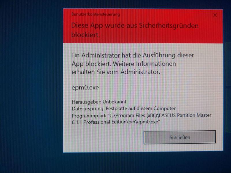 Komische Blockierung von Programm, unmöglich Programm zu starten ohne Deaktivierung von...