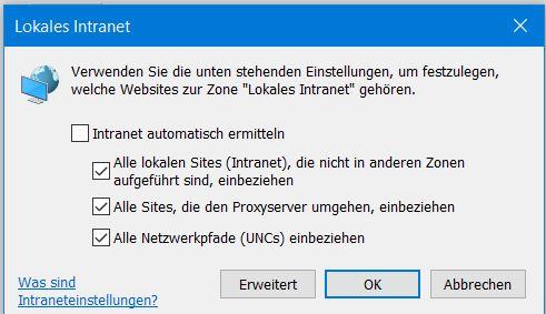 Eingabe von lokalen IP-Adressen funktioniert im Edge nicht  (WIN10 pro 64)