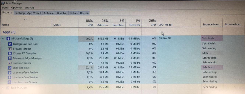 Windows 10 Home 64 Bit  Version 1809  Edge sehr hohe CPU Auslastung