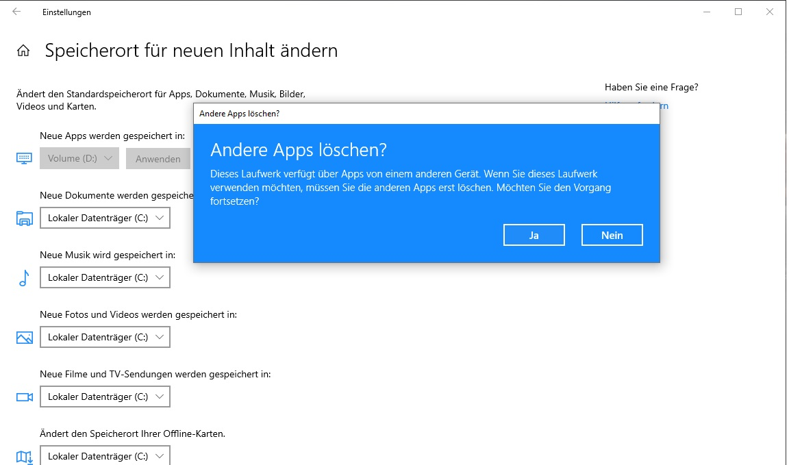 Standard App Speicherort ändern