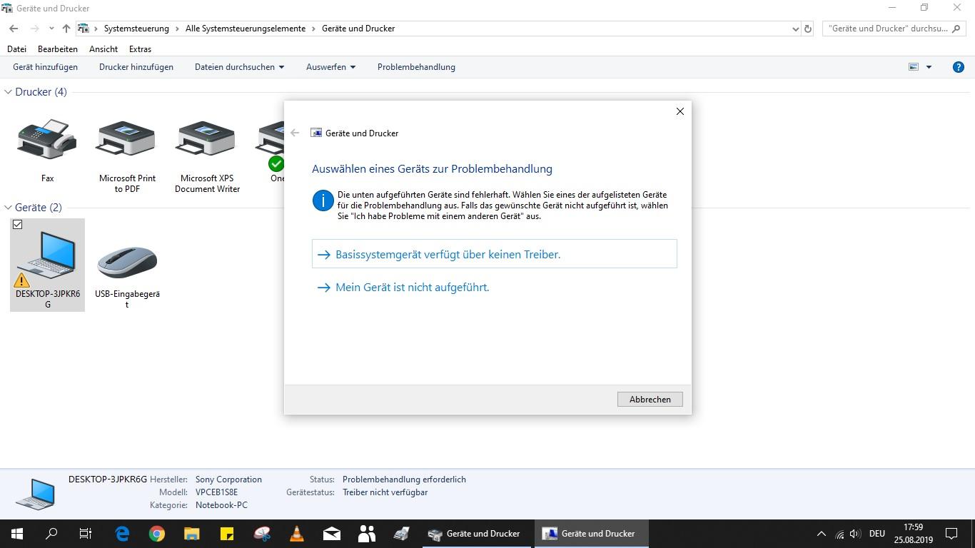 Störungsanzeige beim Desktop
