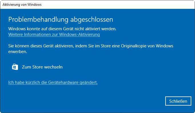 Aktivierung vin Windows 10 nach Mainboard Tausch
