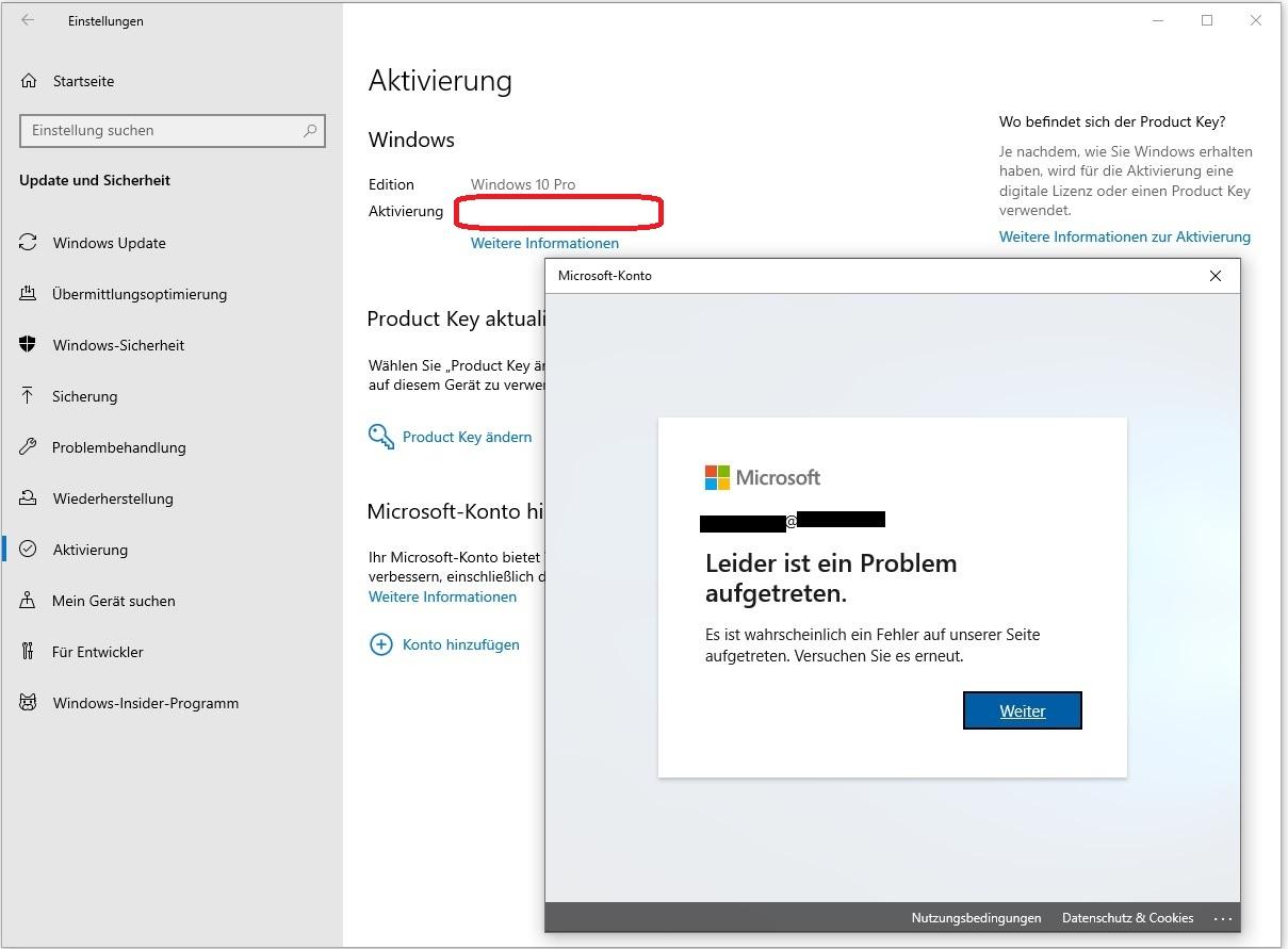 Aktivierung von Windows 10 Pro Retail nach notwendiger Neuinstallation unklar/leer/defekt
