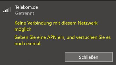 APN hinzufügen; Option nicht vorhanden
