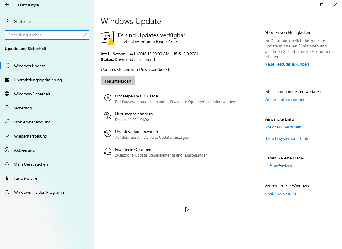 Windows 10 Update will was von 2018 installieren