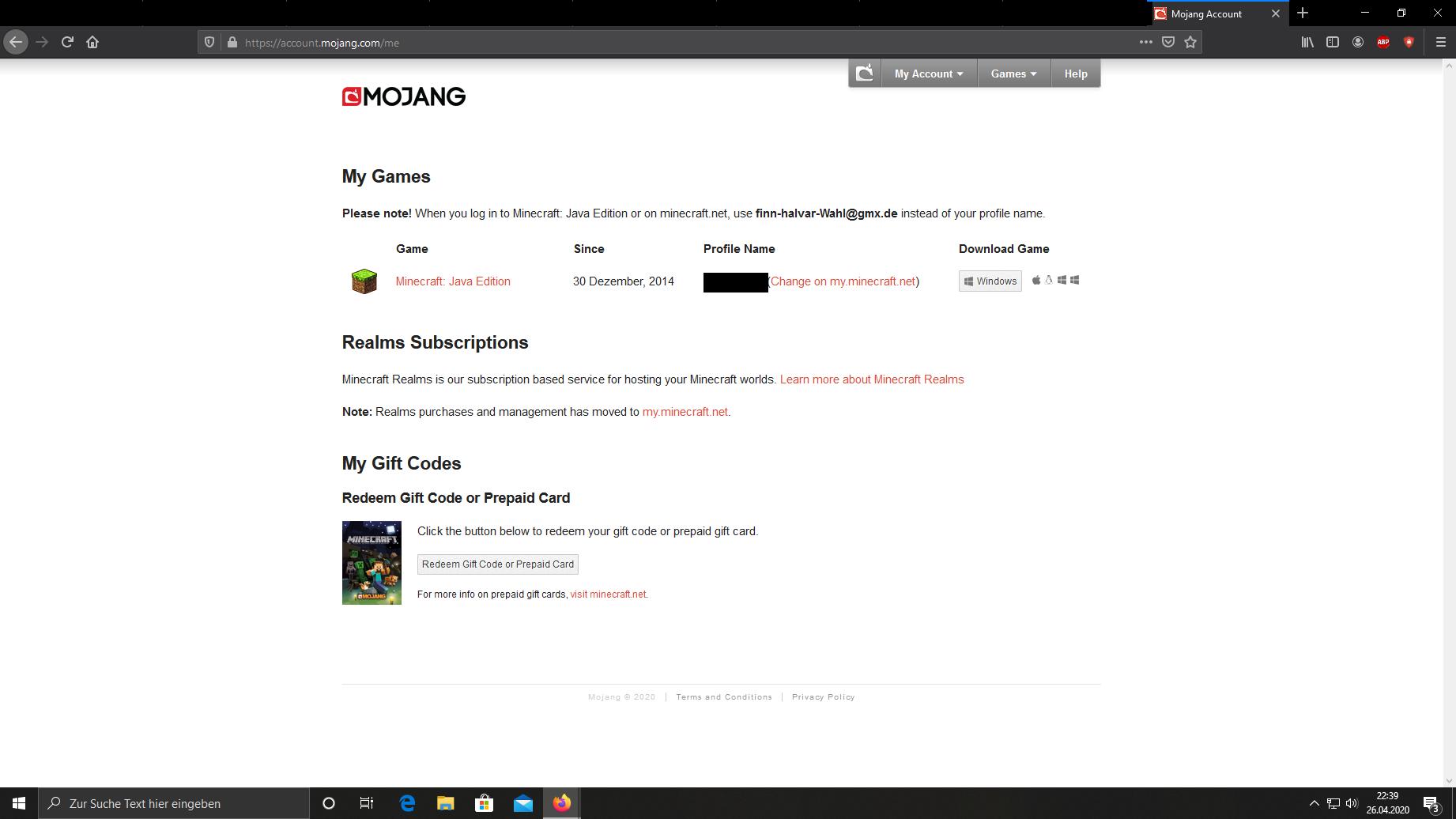 Ich kann meinen Minecraft Windows 10 Code auf Mojang nicht finden