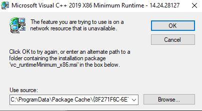 Microsoft Visual C++ 2015-2019 kann nicht install. werden
