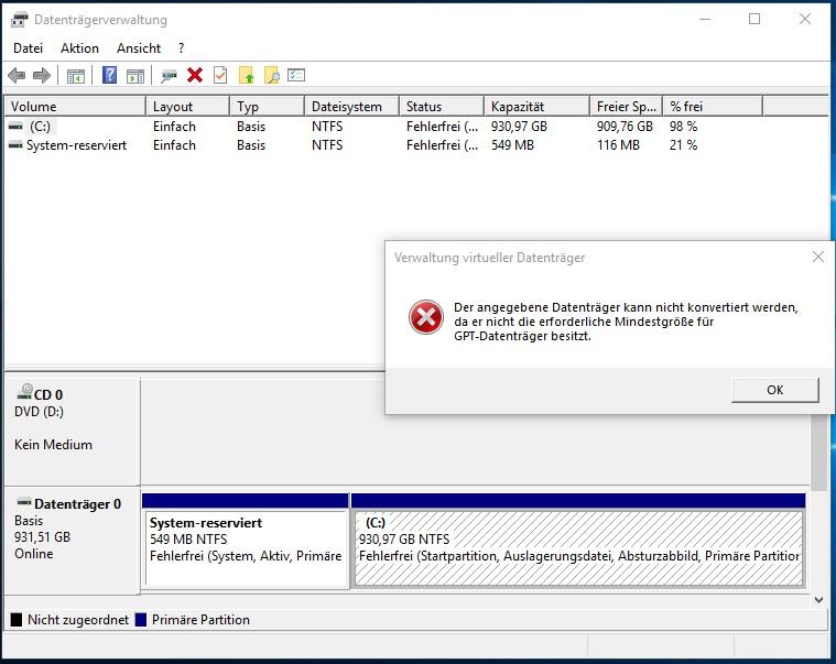 Externe Festplatte WD Elements 2TB wird von Windows 10 nicht initialisiert