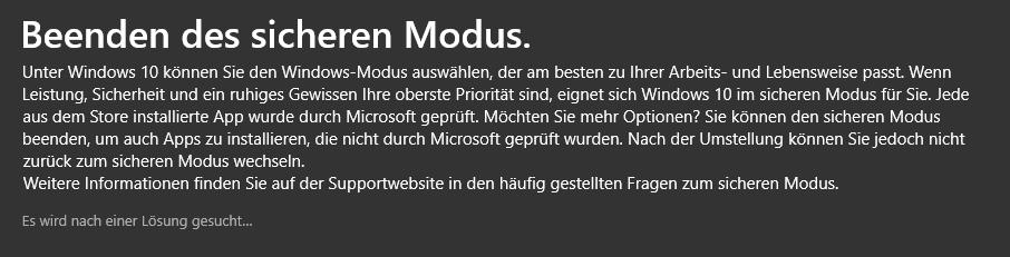 Windows Pro S zu Windows Pro - Es wird nach einer Lösung gesucht ...