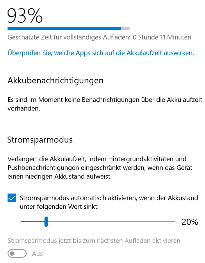 Surface Go Akkuanzeige Problem