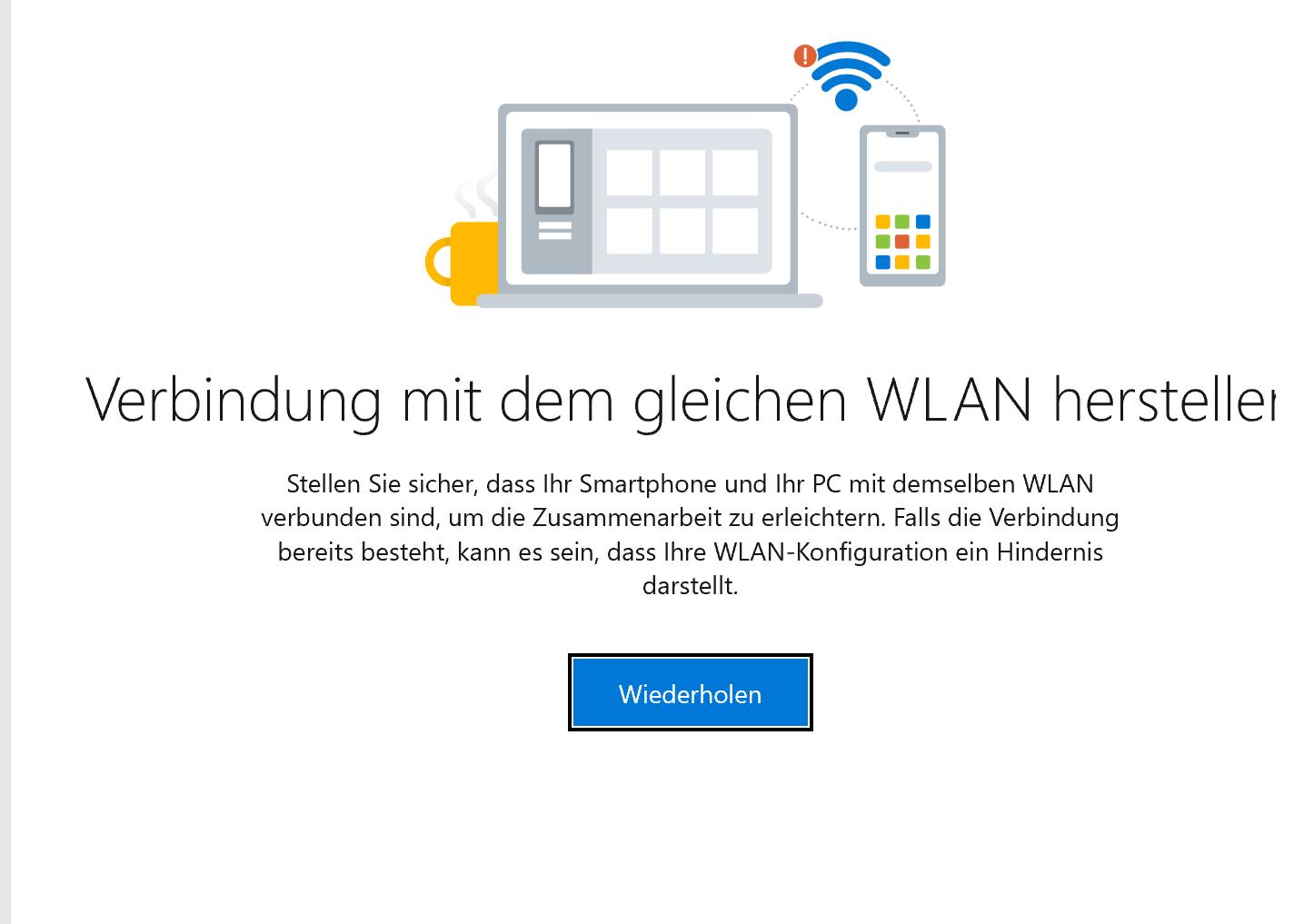 Verbindung vom Tablet zum Smartphone über die Datenverbindung scheitert