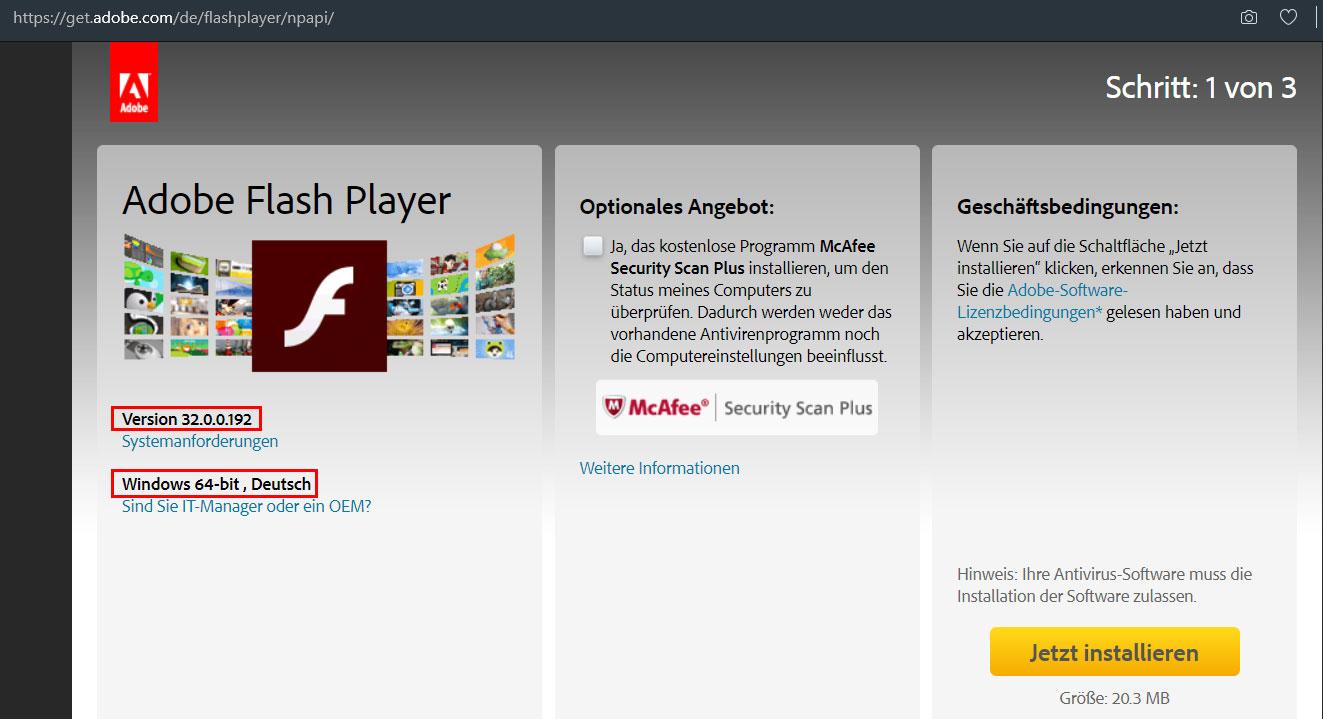 Flash Player kann nicht installiert werden