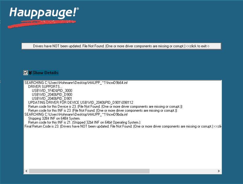 Treiber für Hauppauge Satelliten TV-Tuner wird nicht installiert