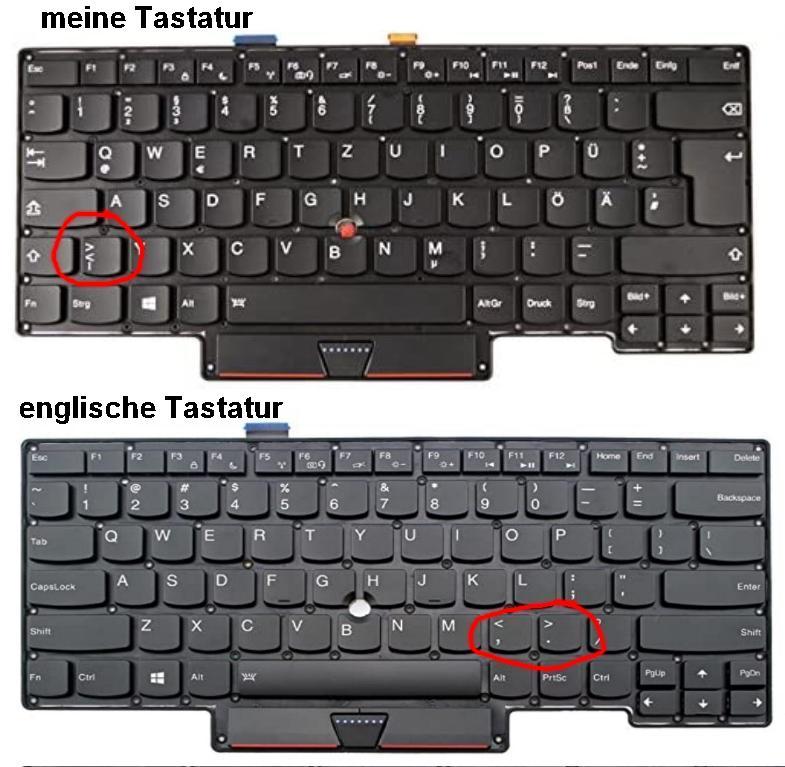 '<' und '>' Taste auf dem laptop Keyboard funktioniert plötzlich nicht mehr