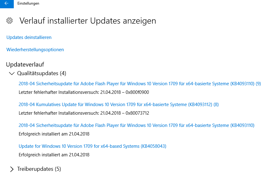 Kumulatives Update für Windows 10 Version 1709 installationsfehler