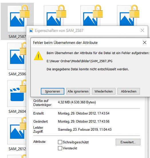 Schreibgeschützte Dateien mit Schloss - Zugriff verweigert (verschlüsselte Daten)