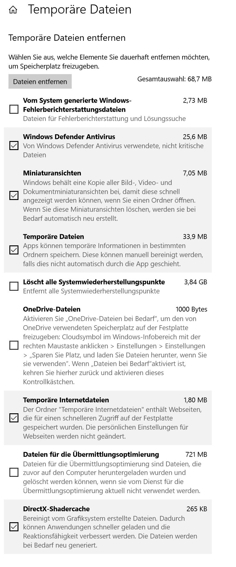 """Speichernutzung """"Temporäre Dateien"""" entspricht nicht der Summe der aufgeführten Apps"""