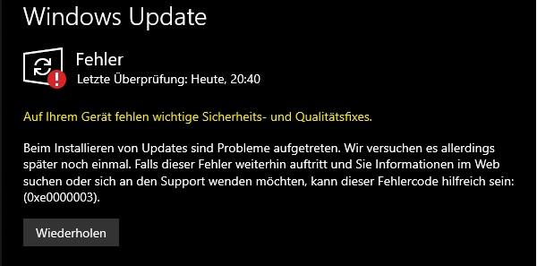 Update KB4517389 lässt sich nicht installieren: 0xe0000003