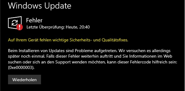 Windows 10 Updates Fail 0xe0000003