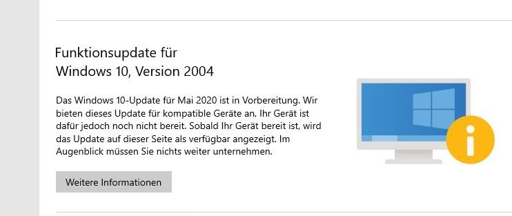 Windows 10 2004 Update hängt bei 61%