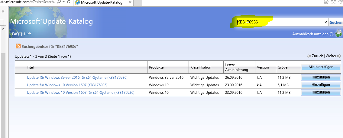 Update version 1607 für x64 systeme (KB3176936)