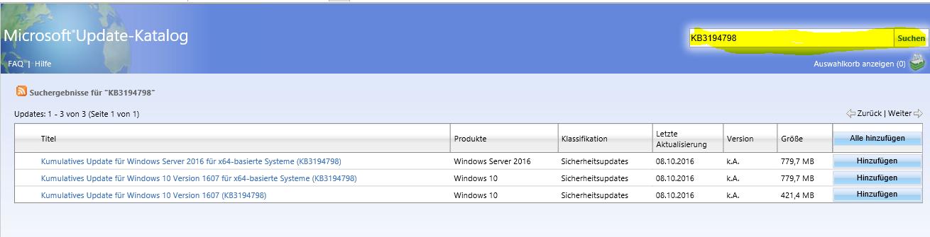 Win 10 Update (KB3194798) – Fehler 0x800703f1