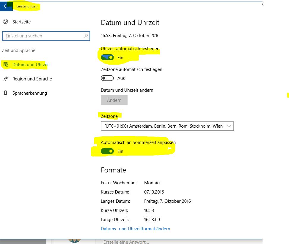 Zeitzone in Windows 10 eine Stunde zu früh