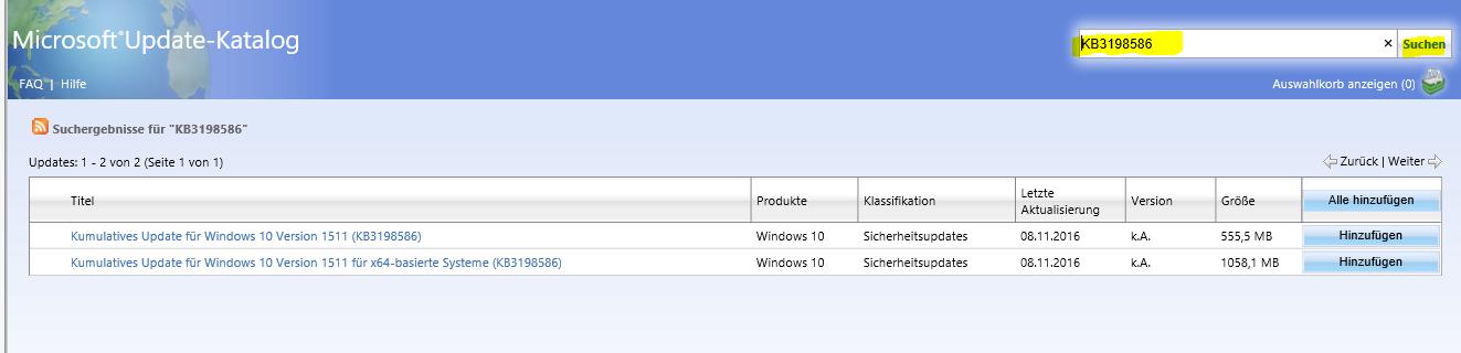 Funktionsupdate für Windows 10 – Version 1607 – Fehler 0xc1900107