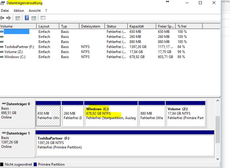 Windows-10-Update verlangt Freigabe von 8 GB Speicher auf C: Was tun, wenn dort nur noch 6...