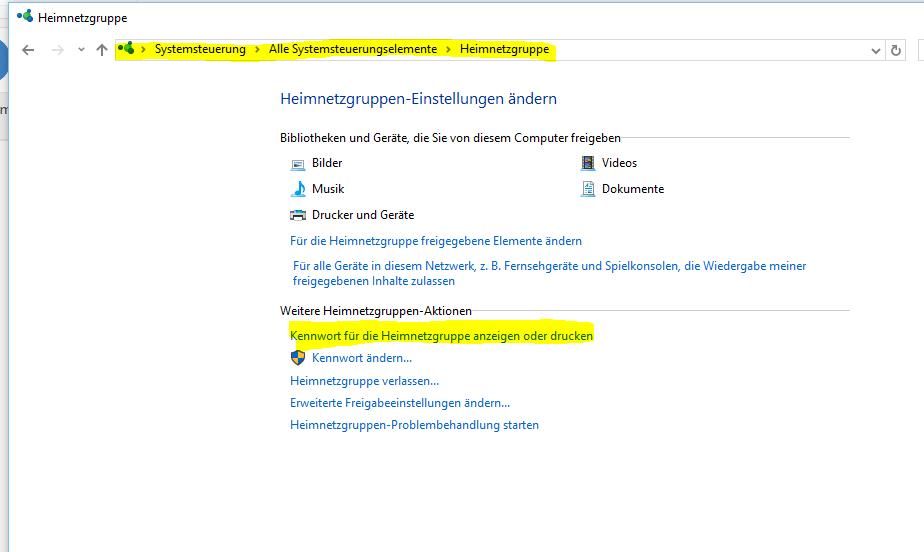 Heimnetzgruppe unter Windows 10 Version 1607