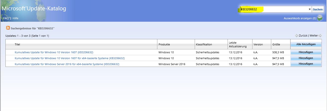 Updates (KB3206632) konnten nicht eingerichtet werden