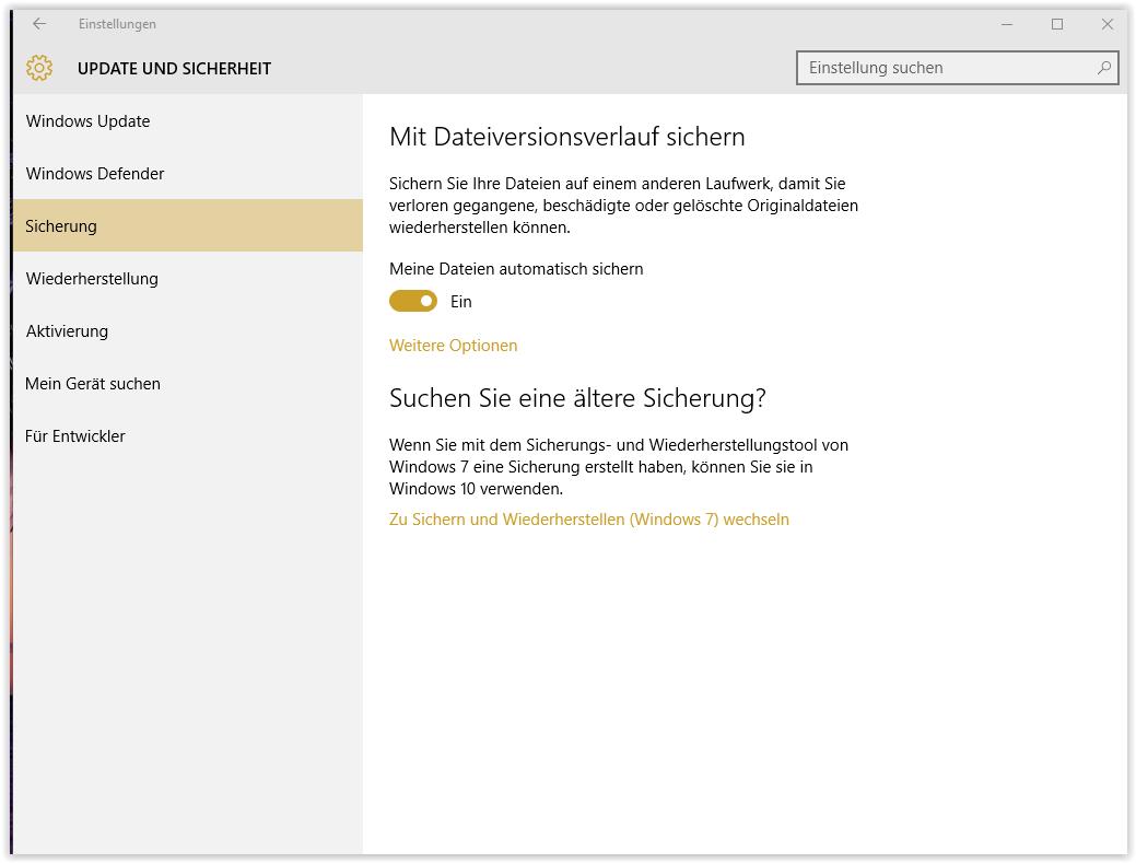 Datensicherung auf externe Festplatte im Windows 10.