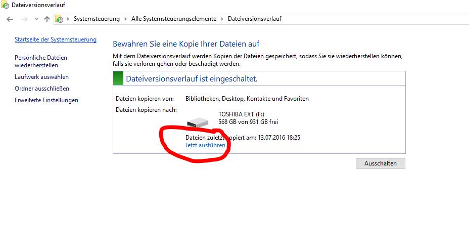 Dateiversionsverlauf sichern