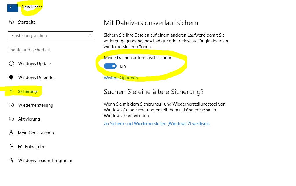 Dateiversionsverlauf lässt sich nicht aktivieren