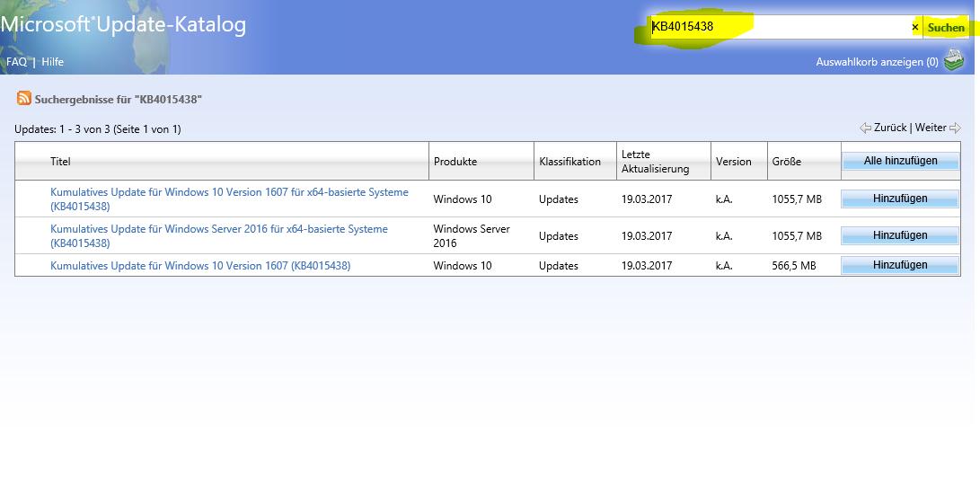 Kumulatives Update für Windows 10 Version 1607 für x64-basierte Systeme (KB4015438)