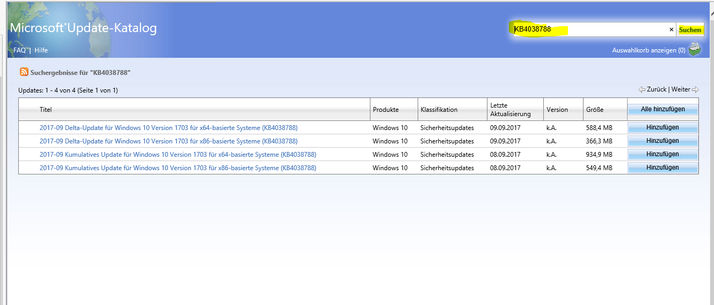Update KB4038788 lässt sich nicht installieren.