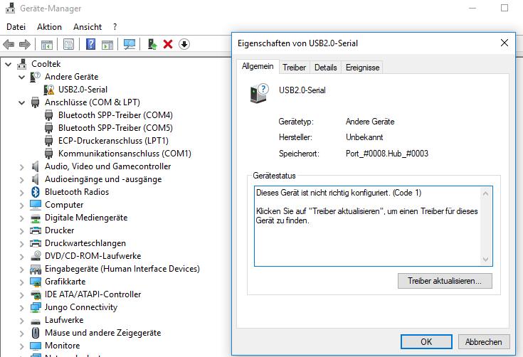 Treiberinstallation für USB-Serial CH340G schlägt fehl