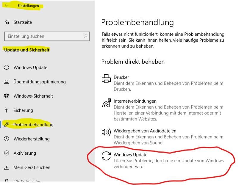 Probleme Nach Windows Update