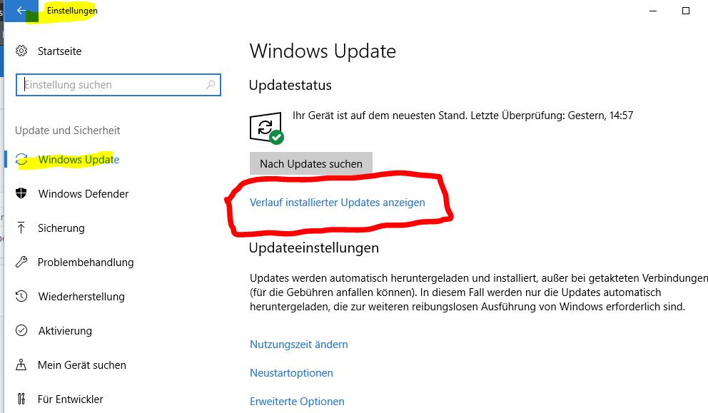 Windows Update fehlgeschlagen