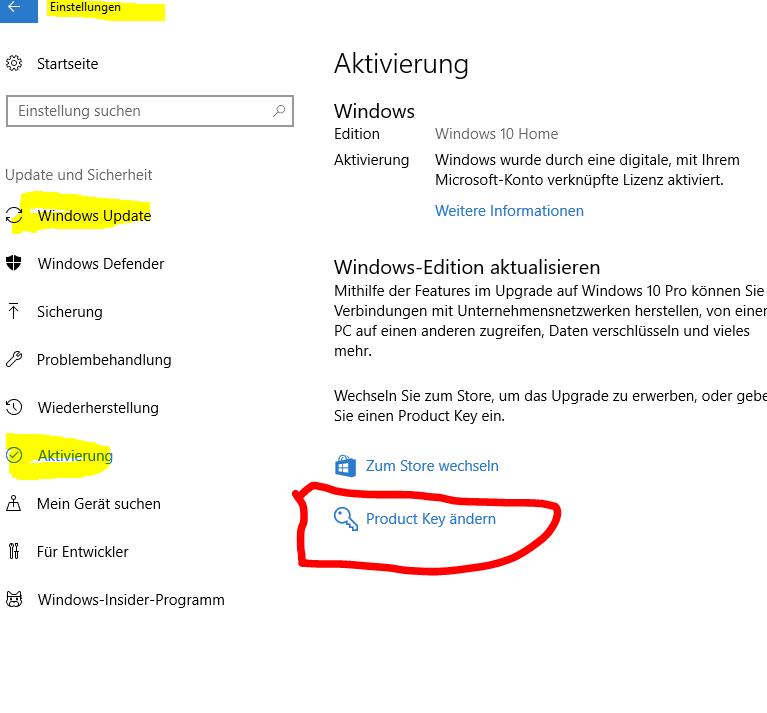 Windows 10 Upgrade von Home auf Pro