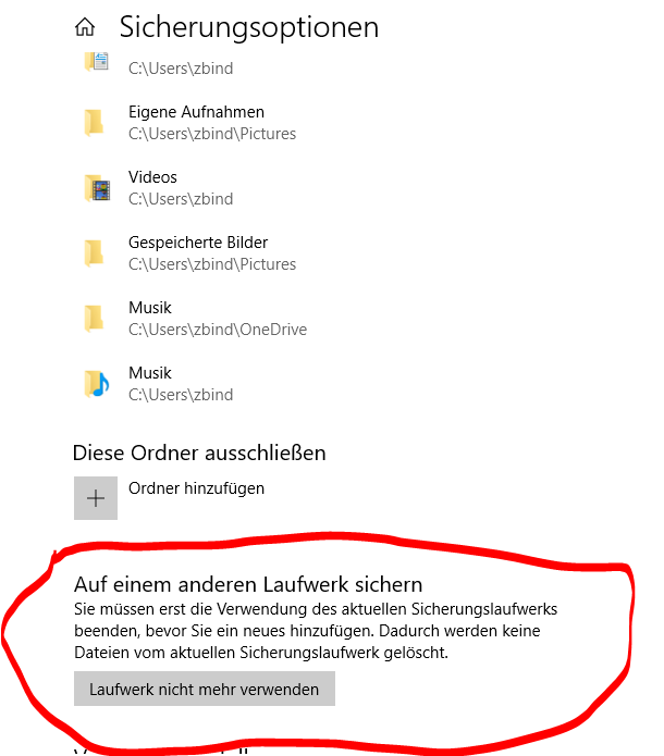 Sicherung  Dateiversionsverlauf neu  aktivieren